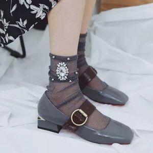 Accessories - Gray Rhinestone Socks